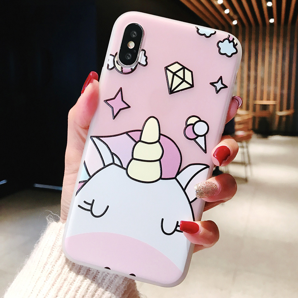 KIPX1104F_1_JONSNOW Phone Case For iPhone XS Max XR XS 6 6S 7 8 Plus Funny Cute Emboss Unicorn Pattern Soft Silicone Cover Cases Capa Fundas