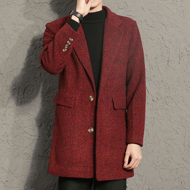 Mens Wool Business Mid-long Casual Suit Collar Single-breasted Trench Coats