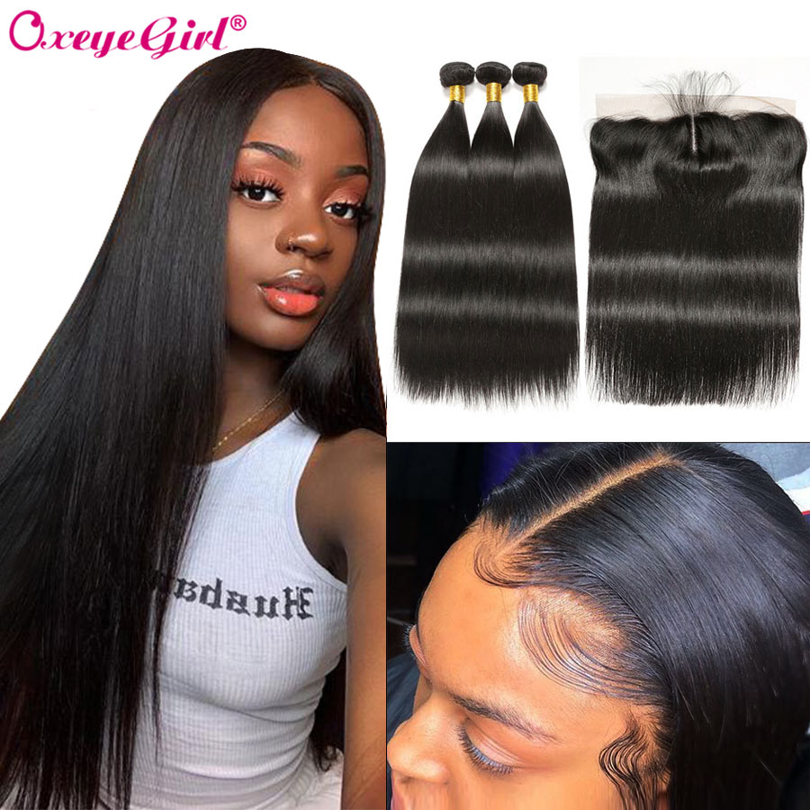 Oxeye girl Straight Hair Bundles With Frontal Peruvian Hair Lace Frontal With Bundles 3 Human Hair