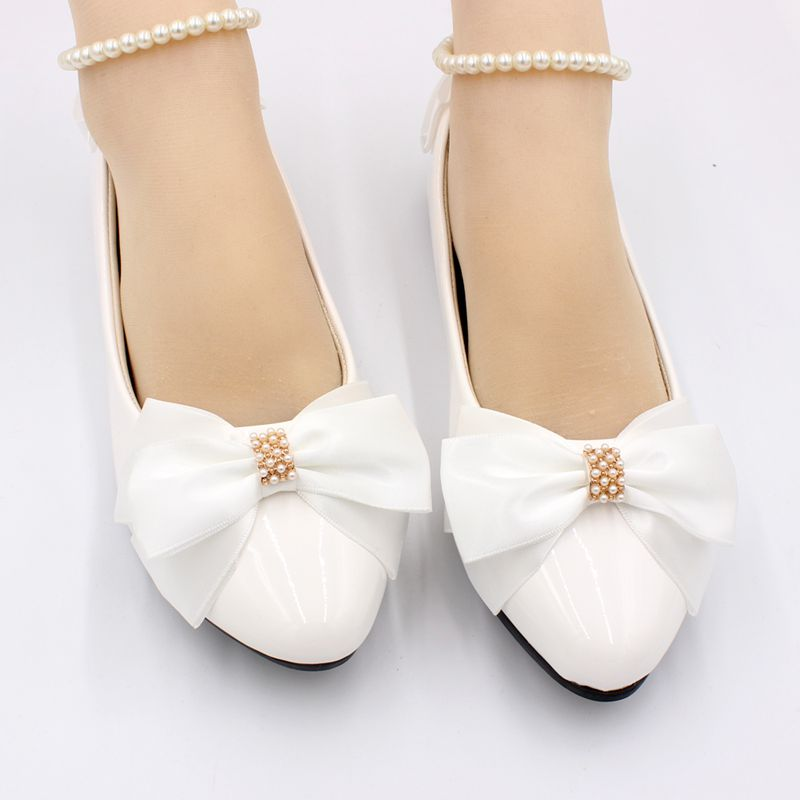 2019 new design white bow butterfly knot wedding shoes bride beads strap low high heel NQ207