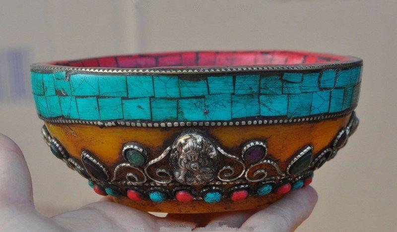 old tibet Beeswax <font><b>silver</b></font> Mosaic Turquoise Tara KwanYin GuanYin statue bowl <font><b>cup</b></font>