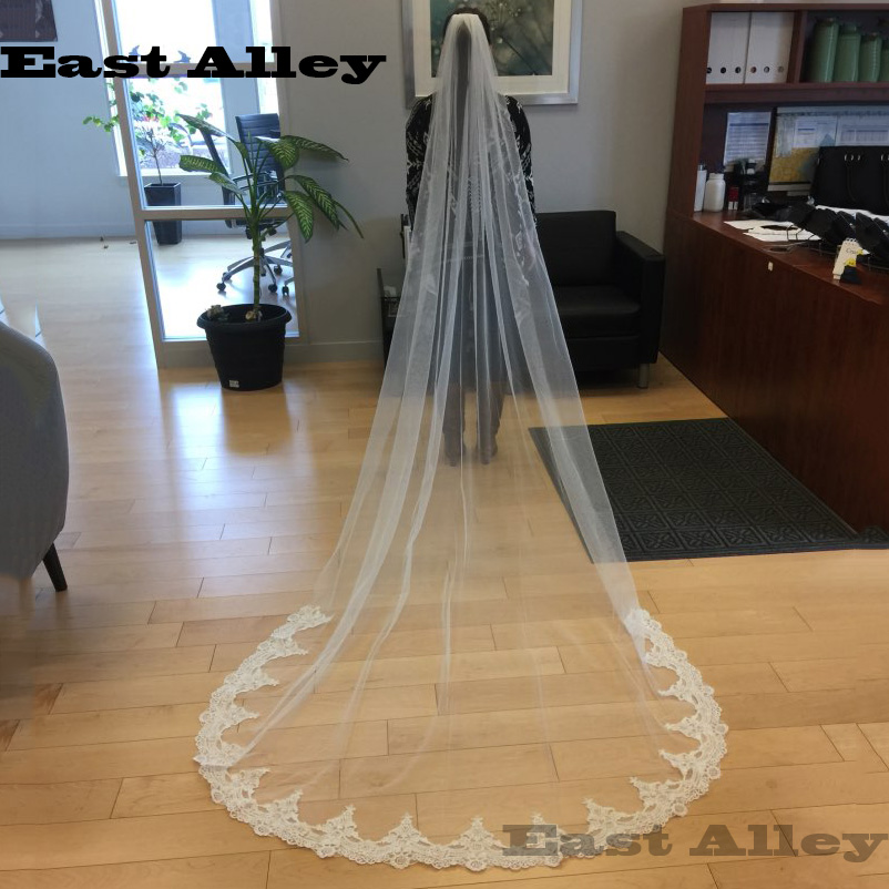 White Ivory Cathedral Length Wedding Welon One Layer Lace Bridal Accessories Veil with Comb velos de novia