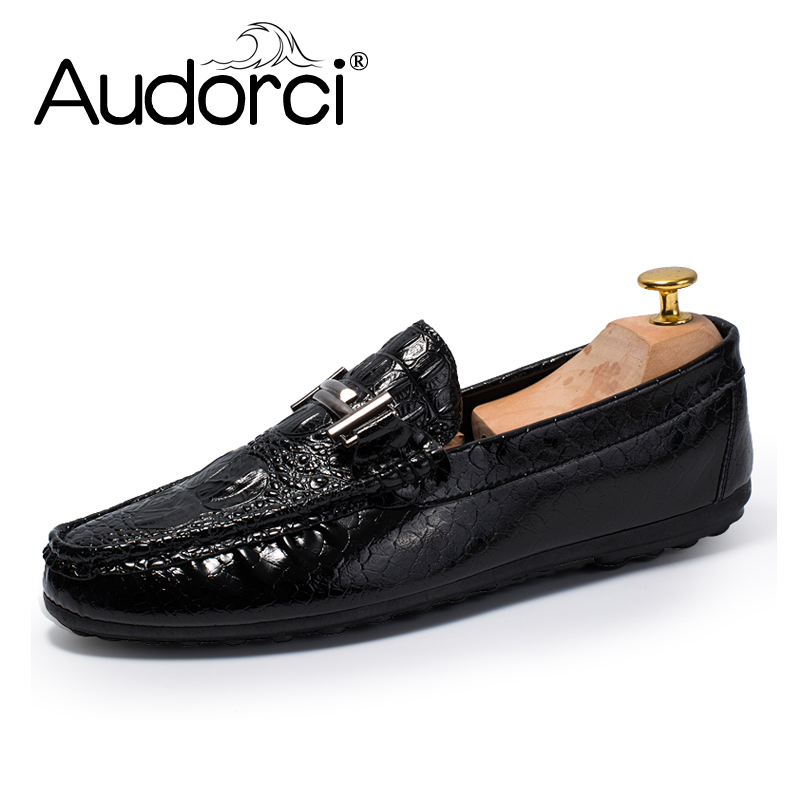 Audorci 2018 Autumn Fashion Men's Handmade Driving Boat Peas Shoes Man Casual Loafers Shoes Male Outdoor Flats Shoe Size 39-44 2016 new fashion men s casual flats peas shoes male comfortable breathable genuine leather driving working shoes casual shoe man