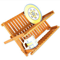 Natural Wood Dish Drying Rack Flatware Holder Plate Storage Holder Plate Wooden Flatware Foldable Dish Rack