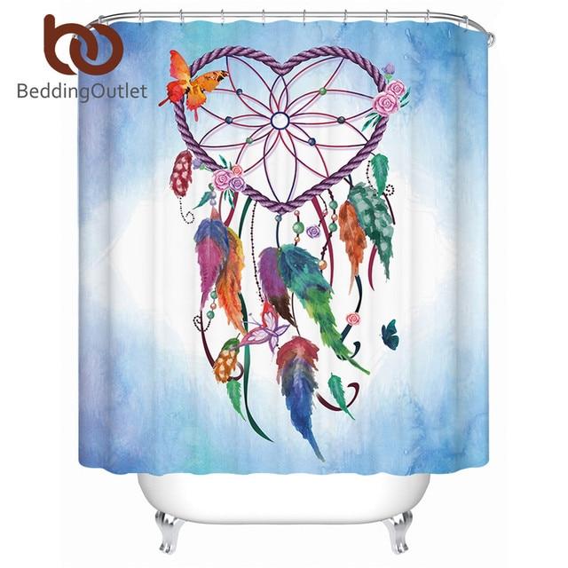 BeddingOutlet Heart Dreamcatcher Shower Curtain Boho Waterproof Bathroom With Hooks Flower Pink Blue Butterfly