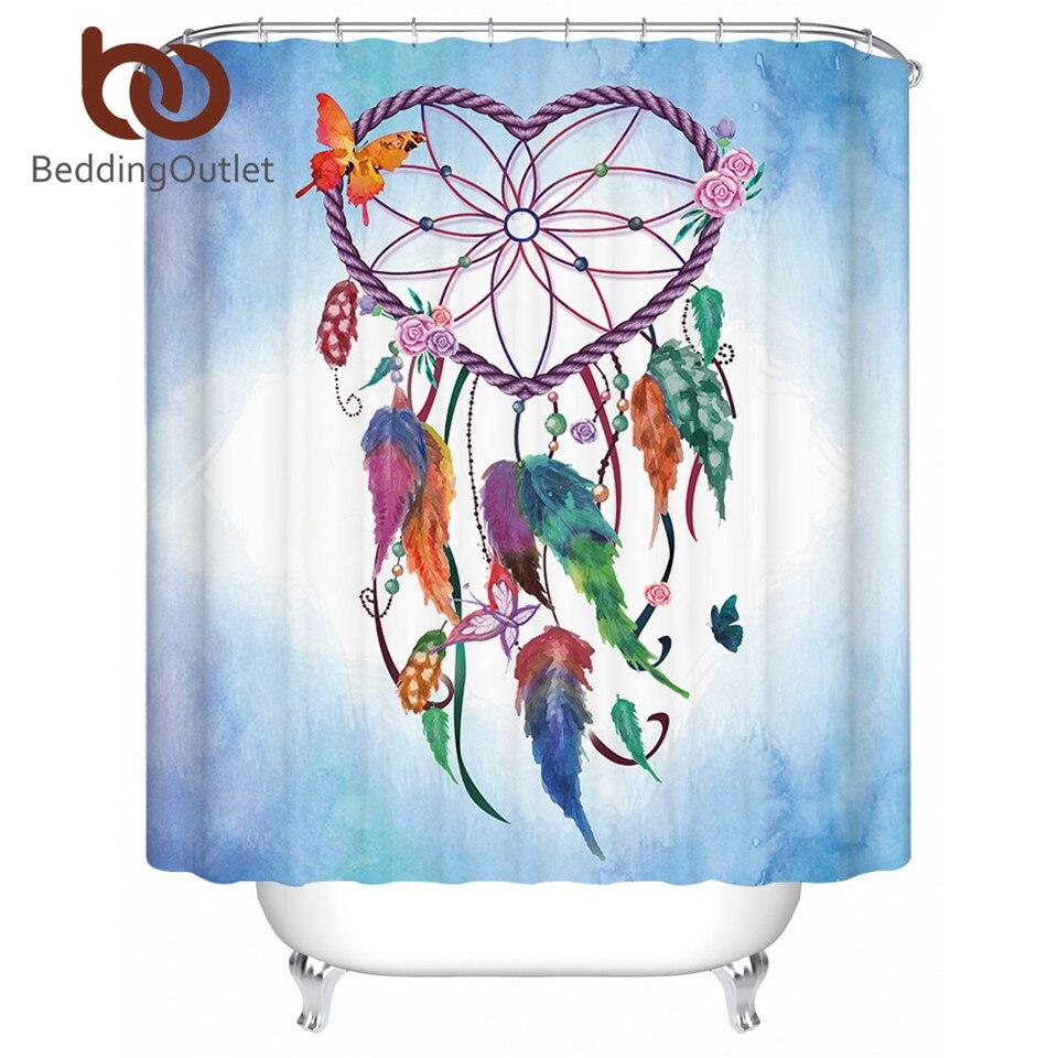 BeddingOutlet Heart Dreamcatcher Shower Curtain Boho Waterproof Bathroom Curtain With Hooks Flower Pink Blue Butterfly Curtain