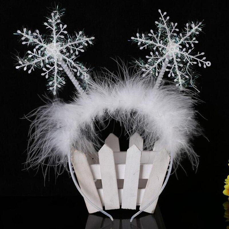 Christmas Feather Snowflake Headband Women Girl Kids Headwear Hair Accessories Decor Props Party Gift  Year Halloween