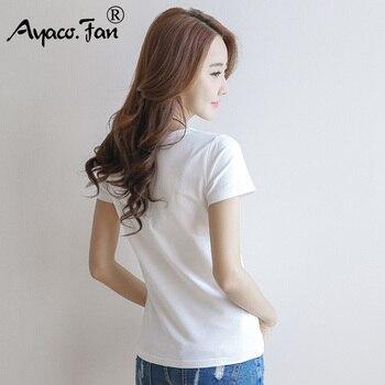 2019 Spring Summer Women Cotton T-shirt Black V-Neck Short Sleeve Female Tee Slim White T-Shirt Casual Solid Lady Tshirt Tops 1