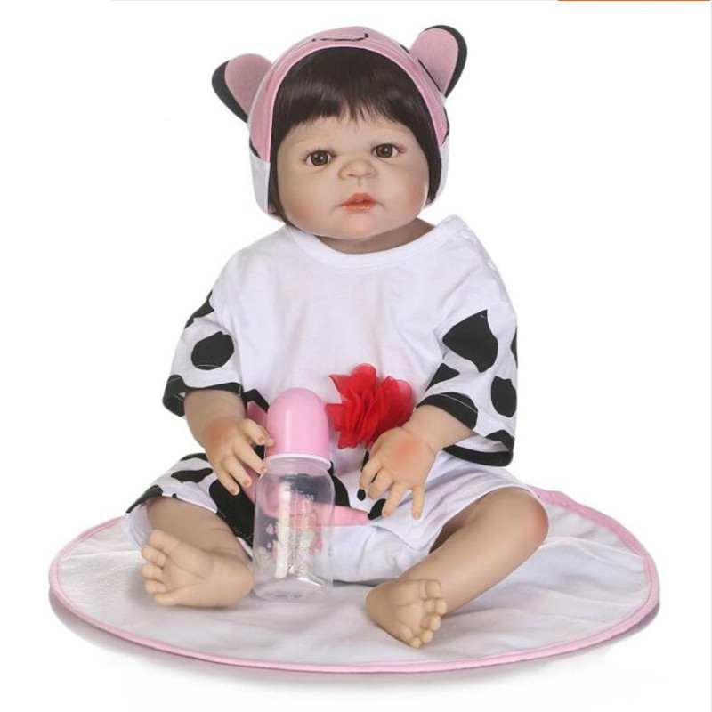 55cm/22inch Reborn Full Body Silicone Baby Girl Doll Toddler Soft Vinyl Babies Bath Toy Collection 55cm 22inch lovely baby reborn doll toy soft vinyl silicone reborn baby dolls finished doll