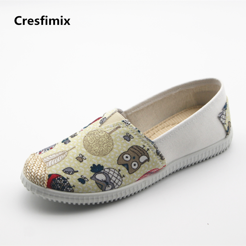 Cresfimix zapatos de mujer women fashion pattern flat shoes female casual spring and summer slip on round toe shoes lady flats new shallow slip on women loafers flats round toe fishermen shoes female good leather lazy flat women casual shoes zapatos mujer