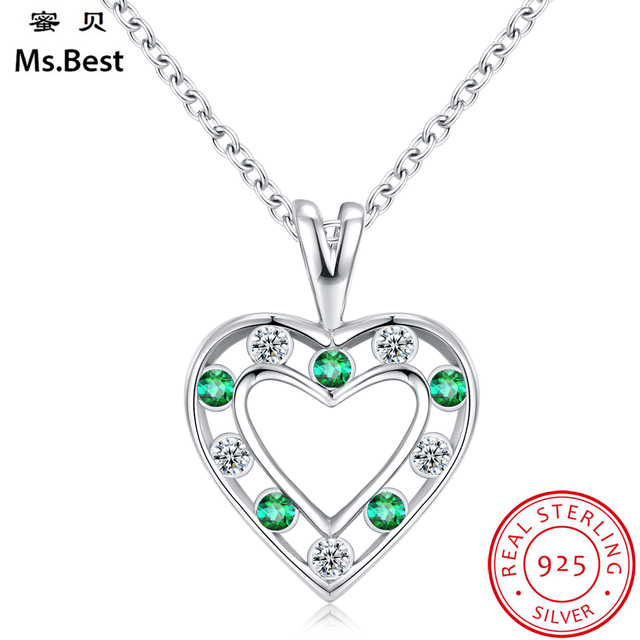Green emerald heart pendant necklace silver 925 fine jewelry women green emerald heart pendant necklace silver 925 fine jewelry women birthstone may birthday valentines mothers day aloadofball Images