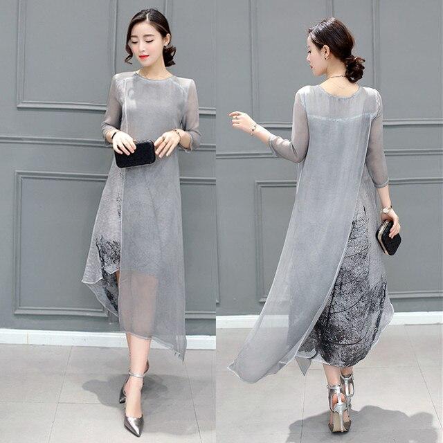 Fashion 2021 Free Shipping New Spring Summer Women Work Wear Cotton Linen Dresses Folk Art Ink Print Casual Slim Dress Retro 2