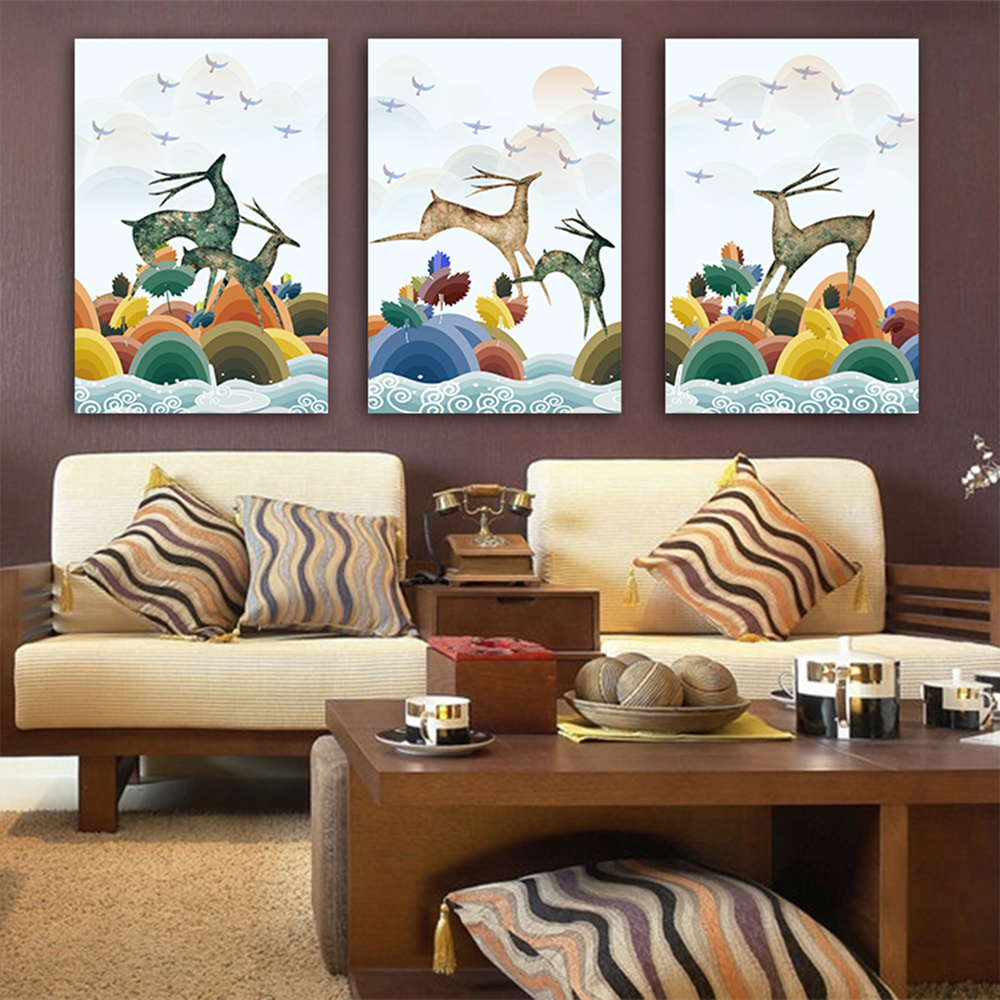 Unframed 3 HD Canvas Prints Cartoon Elk Jumping Bird For Living Room Decorative Illustration Mural Free Delivery