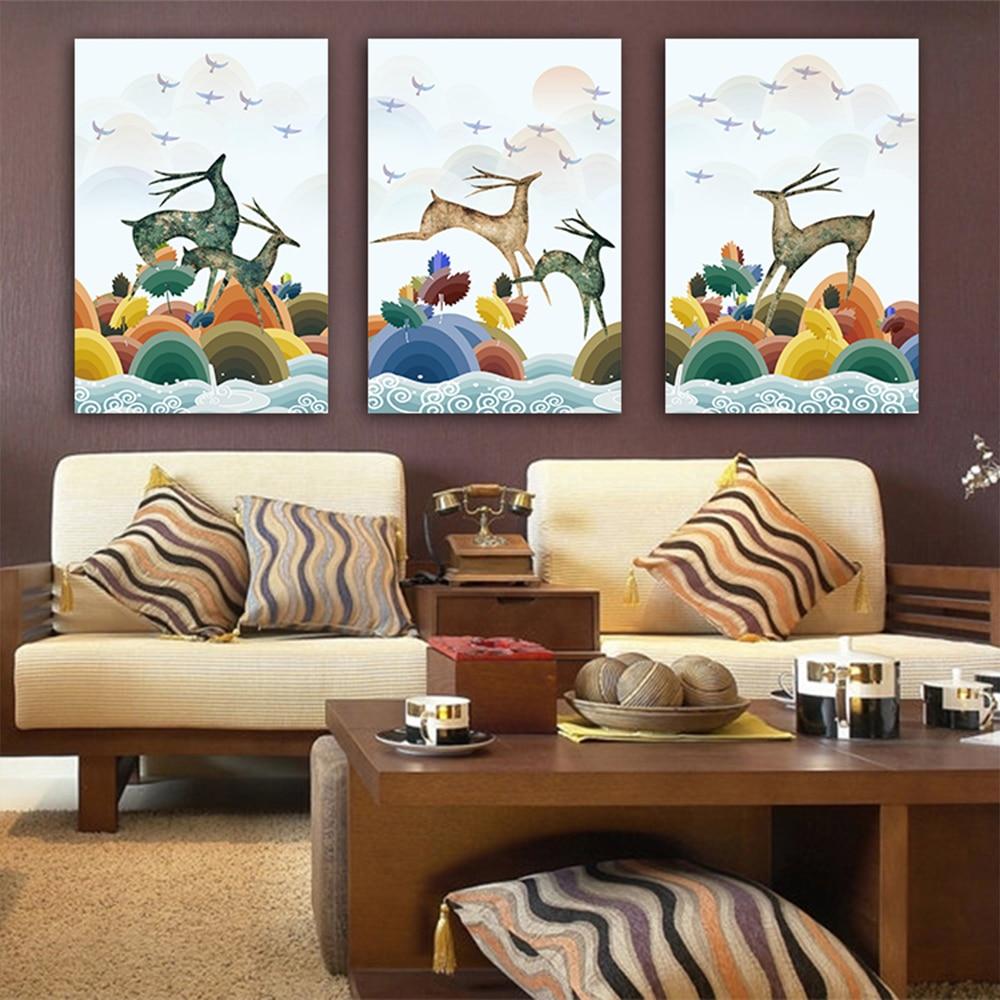 Unframed 3 HD Canvas Prints Cartoon Elk Jumping Bird For Living Room Decorative Illustration Mural Free Delivery