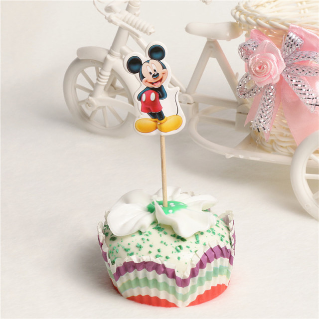 Cute Mickey Mouse Cartoon Cupcake Toppers Picks Mickey Mouse Party Decorations Baby Shower Kids Birthday Party Favors 48Pcs/lot