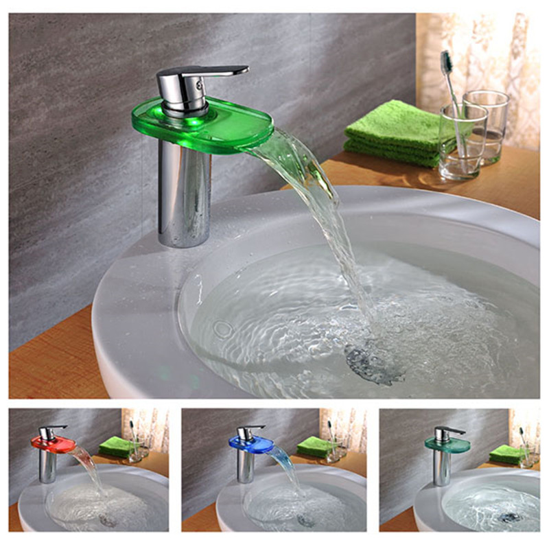 Waterfall Spout Basin Sink Faucet 3 Holes Bathroom Mixer Tap with LED Light LD8005-015B