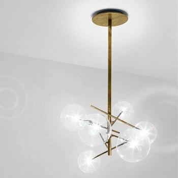 الحديثة الحد الأدنى الروتاري أضواء السقف Led مصباح كرة زجاجية مستديرة الإبداعية مصابيح تعليق للزينة الحديد Led G4 لمبة شريط المنزل داخلي الذهب