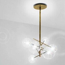 Moderne minimalistische Roterende Plafond Verlichting Led Lamp Ronde Glazen Bal Creatieve Opknoping lichten ijzer Led G4 lamp Indoor Home Bar goud