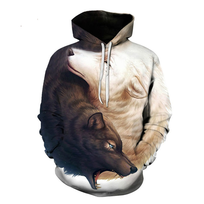 Black and White Wolf Hoodies Hooded Unisex Hat 3D Sweatshirts Print Colorful
