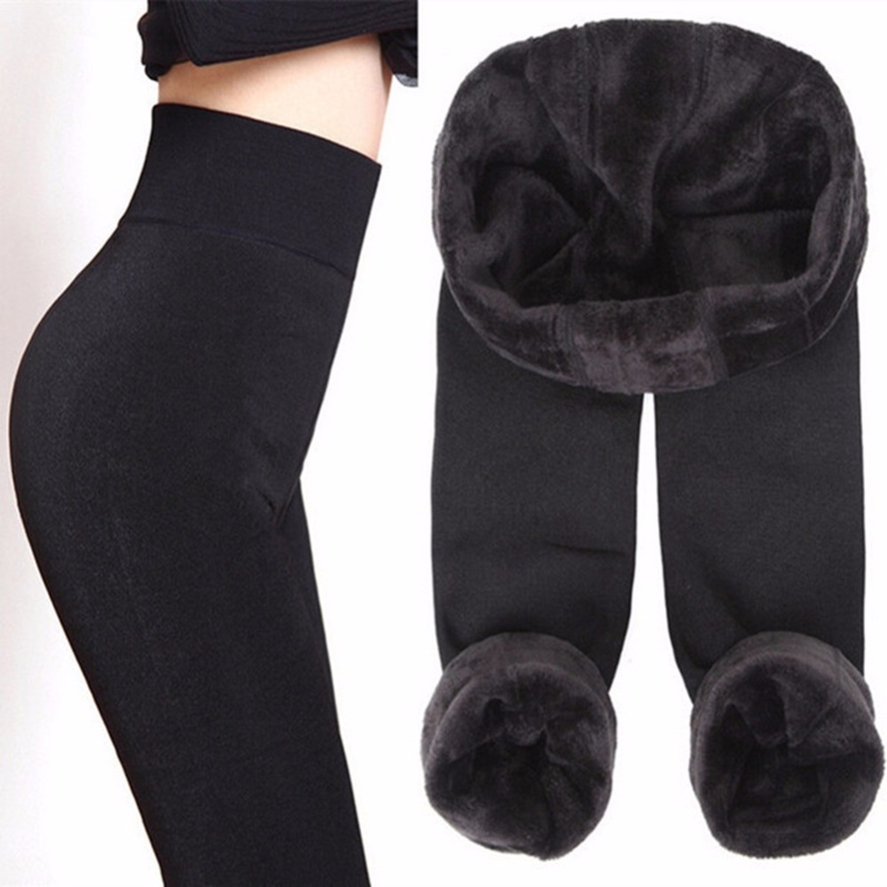 CHLEISURE S-XL 8 colores polainas de invierno cálido polainas alta cintura de terciopelo grueso Legging sólido del todo-fósforo de las mujeres Leggings
