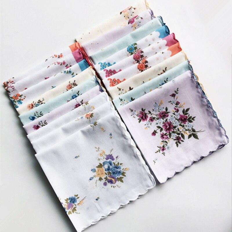 10 Pcs/Lot Small Flowers Crescent Side Handkerchiefs Cotton Handkerchiefs