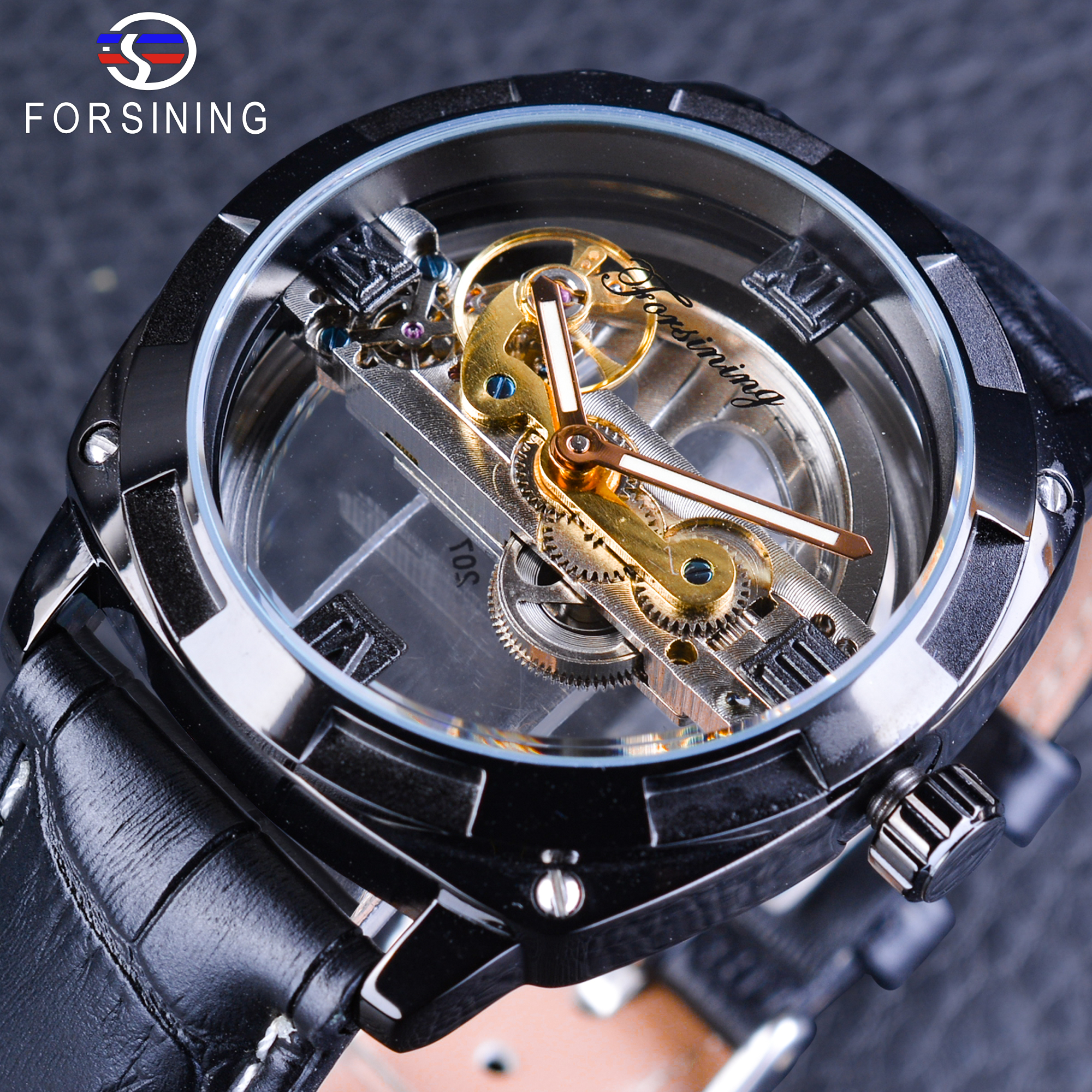 Forsining Official Exclusive Sale Double Side Transparent Steampunk Design Automatic Watch for Men Sport Watch Genuine LeatherForsining Official Exclusive Sale Double Side Transparent Steampunk Design Automatic Watch for Men Sport Watch Genuine Leather