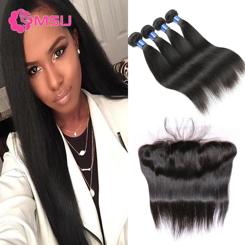 Unice Hair with Closure 10A Virgin Brazilian Straight Hair with Closure 13x4 Ear to Ear Lace