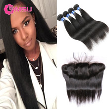 Unice Hair with Closure 10A Virgin Brazilian Straight Hair with Closure 13×4 Ear to Ear Lace Frontal Closure with Bundles