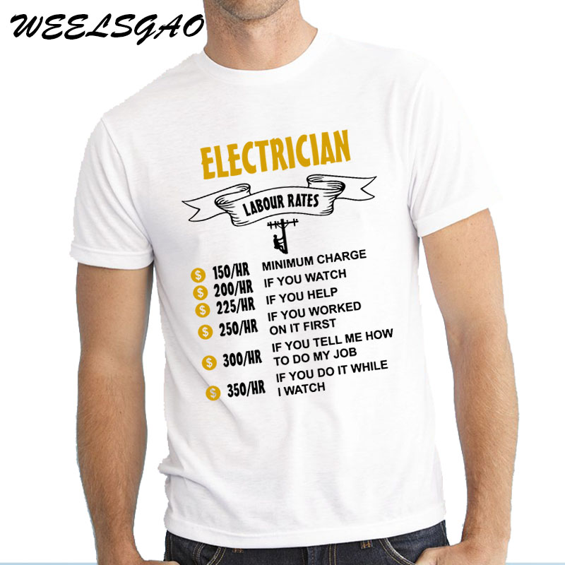 Weelsgao New Arrival Brand Clothing O Neck Male Casual T Shirt Top Tees Electrician