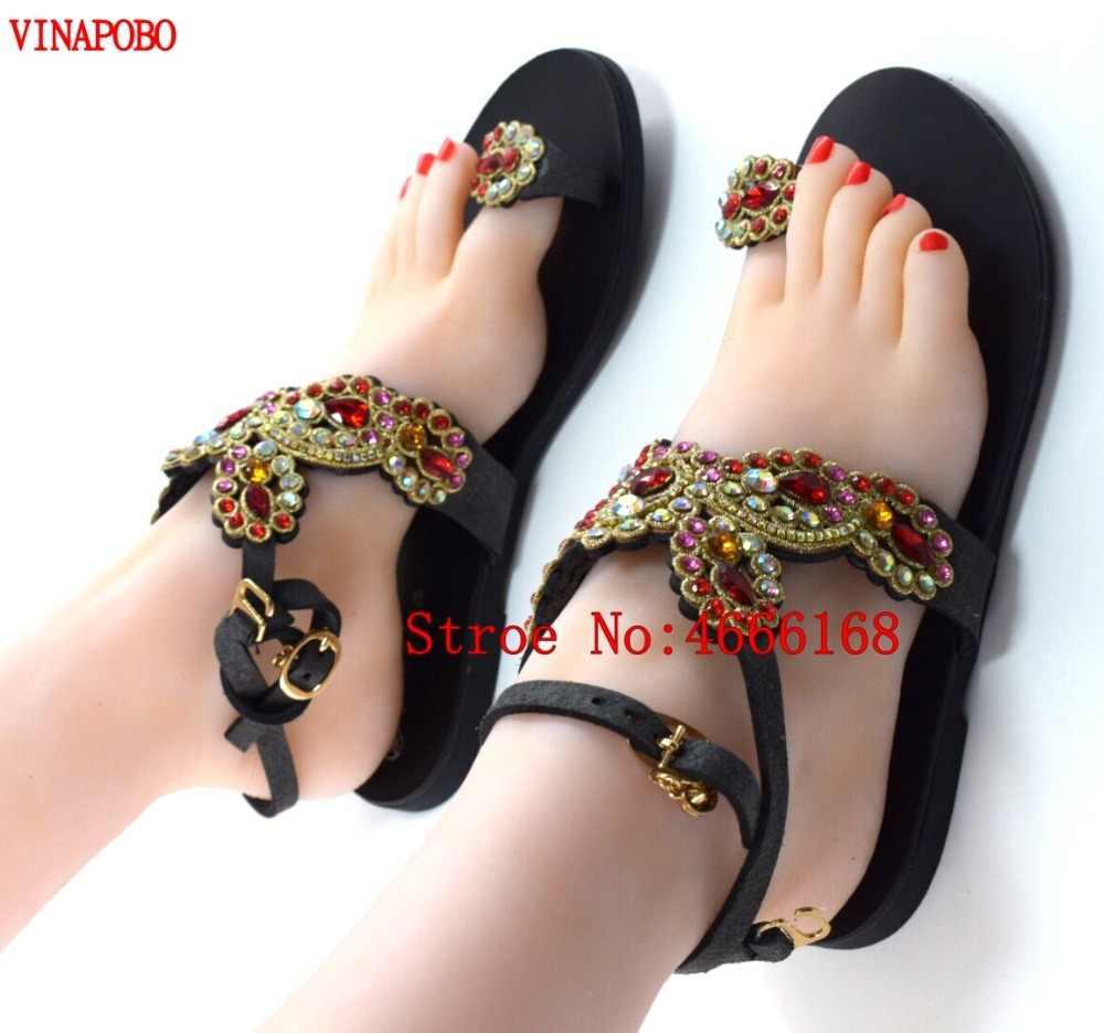 Vinapobo Mulheres Apartamentos Strass Sandálias de Salto Plana de Cristal Sapatos de Casamento Da Dama de Honra de Luxo Anel de Dedo Boemia Étnica Flip Flops