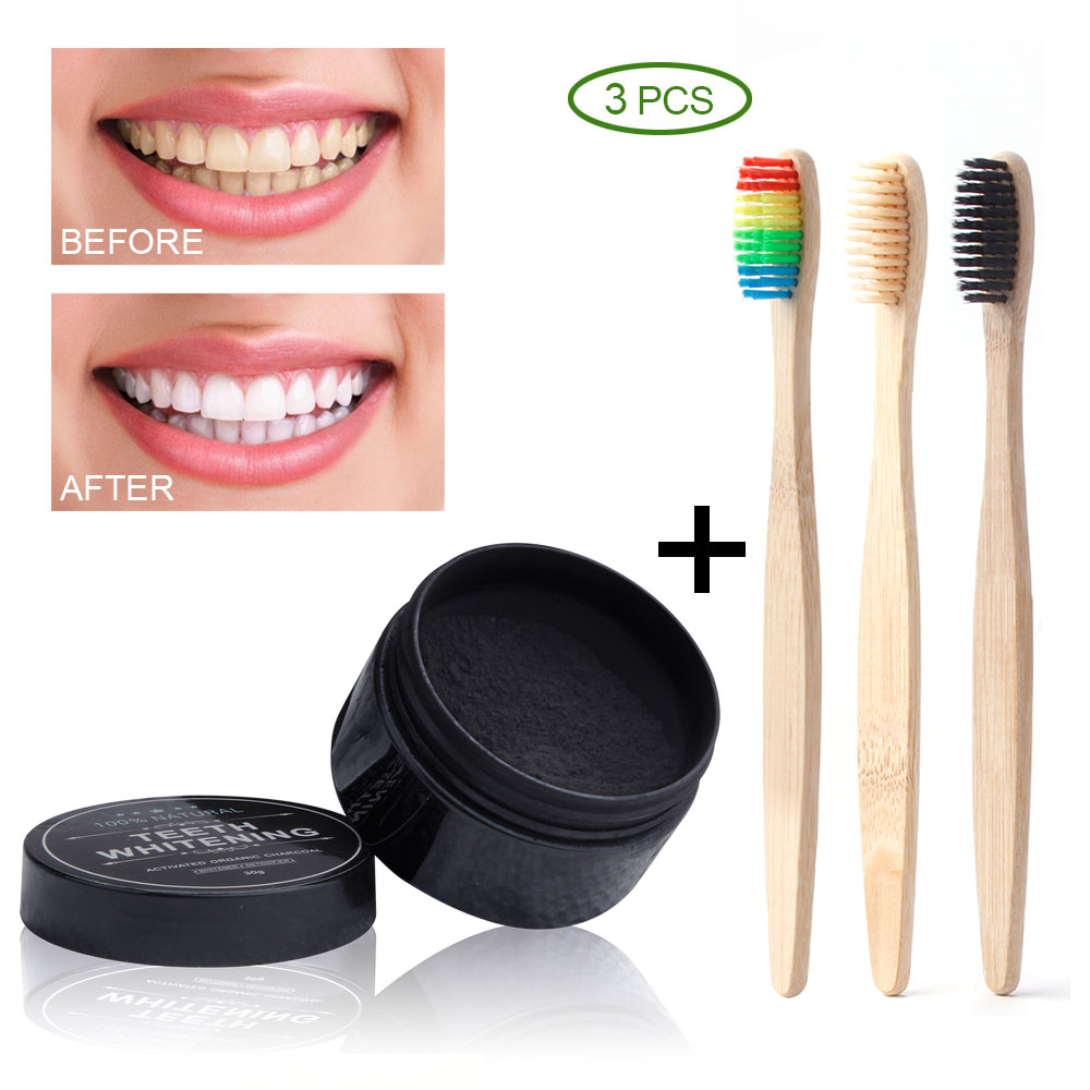 Eco Friendly Charcoal Teeth Whitening Powder + Bamboo Toothbrush Teeth Whitener Dental Charcoal Powder Wooden Toothbrush Oral C