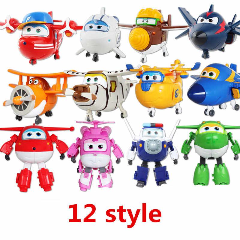 12 pçs novo estilo mini avião abs robô brinquedos figuras de ação super asa transformação jet animação crianças presente com caixa