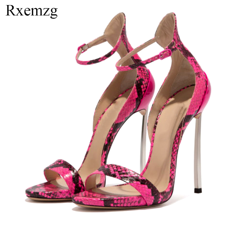 Rxemzg summer sandals 2019 sexy women s shoes ankle strap open toe snake print sandals high