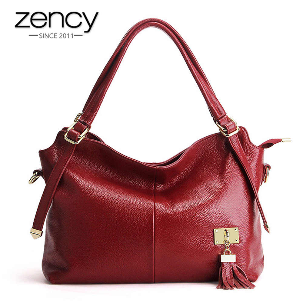 Zency 100% Soft Genuine Leather Women Shoulder Bag With Tassel Luxury Burgundy Handbag Fashion Lady Crossbody Purse Satchel Tote