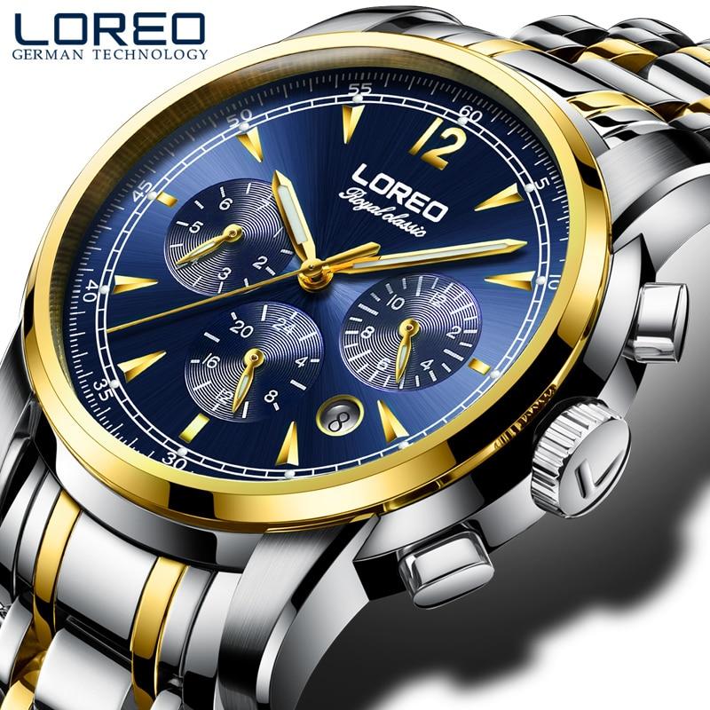 LOREO genuine original automatic mechanical movement hollow luminous waterproof multifunction new fashion business men watch цена