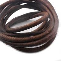 5 метров Высокое качество темно-античный коричневый 5 мм круглый натуральная мягкая кожа фурнитура шнур шнурок