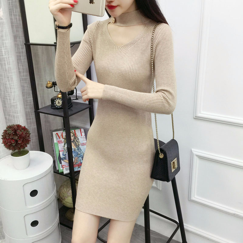 219d32e54a H Trendy Social Office Dress Winter Knit Warm Tight Dress Sexy Mini Bodycon  Dress ...