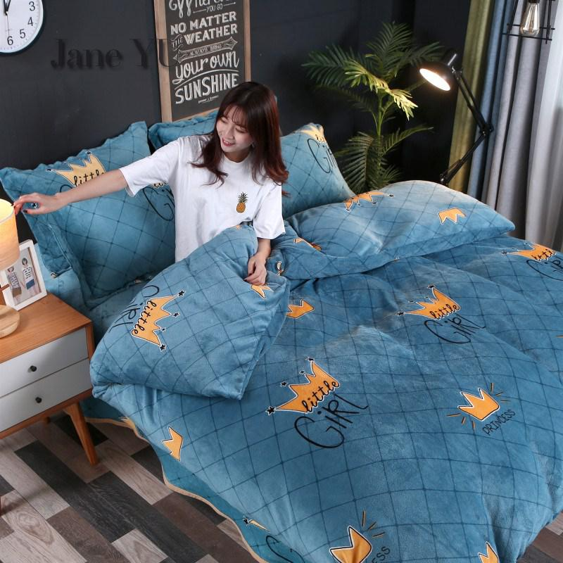 JaneYU 4 pieces Flannel Bedding With Cartoon Coral Velvet Cover In Autumn And Winter Sheet Pillowcase & Duvet Cover Sets|Bedding Sets|Home & Garden - title=