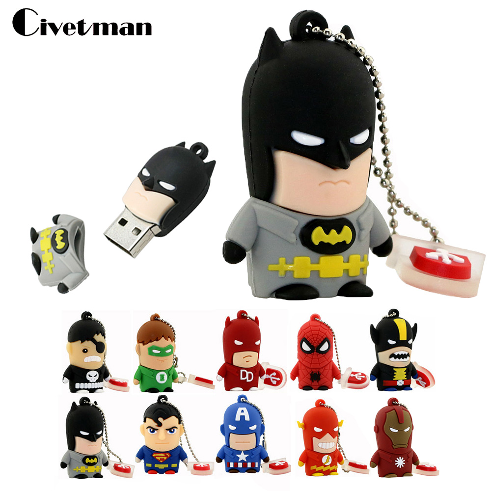 New Cartoon Super Hero USB Flash Drive 8GB 16GB 32GB 64GB Iron Man Flash Memory Batman Pendrive Captain America 128GB Pen Drives
