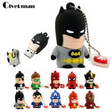 Nuevo Super héroe de dibujos animados USB Flash Drive 8 GB 16 GB 32 GB 64 GB Hombre de Hierro de memoria Flash Batman pendrive Capitán América 128 GB Pen Drives(China)