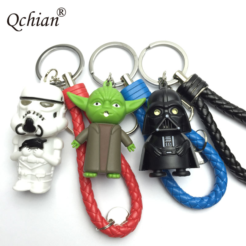 The Force Awakens Keychain Darth Vader Anakin Skywalker Key Chains With LED Flashlight Sound White Pawn Key Holder