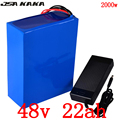 48V аккумулятор 48v 22ah Электрический велосипед батарея 48V 22AH литий-ионный аккумулятор для 48V 1000W 1500W 2000W электродвигатель для скутера + 5A зарядно...
