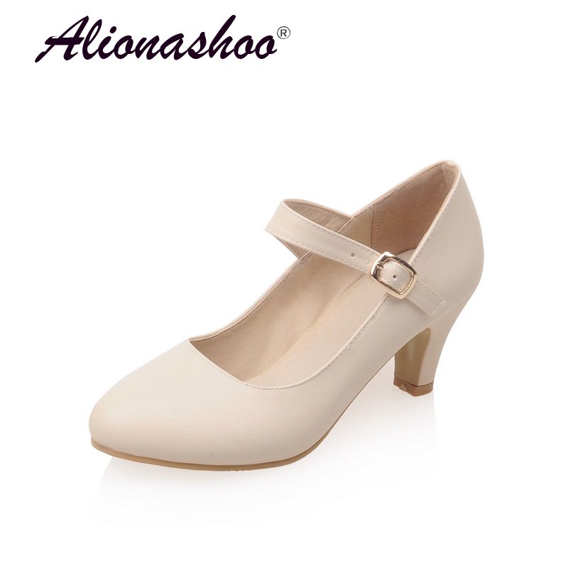 Casual Shoes Women Spring/Autumn Classic Shoes For Women In High Heel Plus Size 34-43 Shallow Round Toe Buckle Strap Shoes Casual Shoes Women Spring/Autumn Classic Shoes For Women In High Heel Plus Size 34-43 Shallow Round Toe Buckle Strap Shoes
