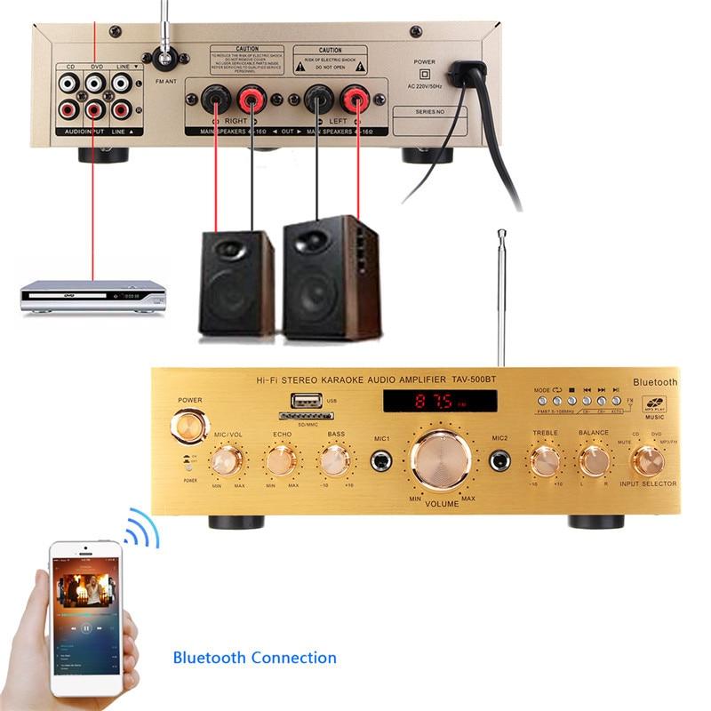 Bluetooth 1200 W 4ohm HIFI amplificateur de puissance Stéréo 2 Karaoke Channel FM KTV USB/AUX amplificateur de puissance 220 V Avec télécommande