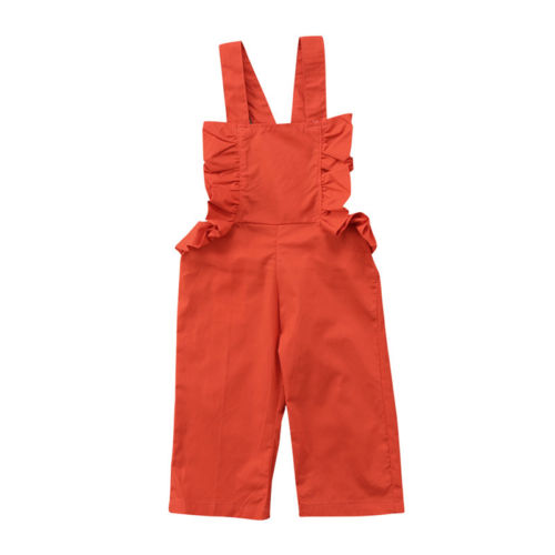 c4b59d35c8f New Style Summer Overalls Kid Baby Girl Orange Strap Jumpsuit Romper  Bodysuit Children Wide Leg Pants Outfit Clothes Set 1 6Y-in Overalls from  Mother   Kids ...