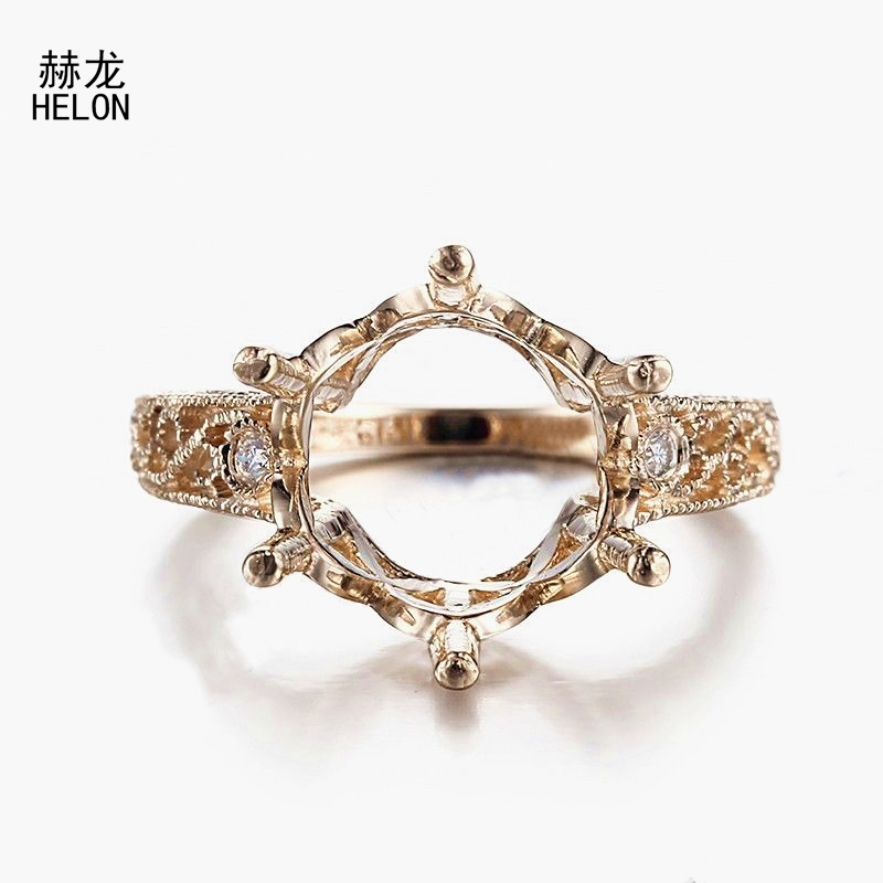 Solid 10K Yellow Gold VS/H Natural Diamond 11mm-12mm Round Cut Engagement Wedding Semi Mount Vintage Art Deco Fine Jewelry Ring