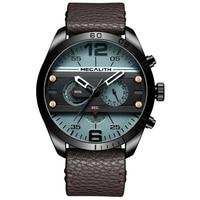MEGALITH צבאי ספורט גברים שעונים גברים אופנה מים הוכחה כחול רצועת עור מגניב קוורץ יד שעונים זכר שעון Reloj Hombre