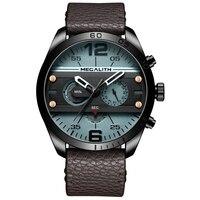MEGALITH wojskowe sportowe zegarki męskie moda męska wodoodporny niebieski skórzany pasek fajne kwarcowy zegarek na rękę zegarki mężczyzna zegar Reloj Hombre w Zegarki kwarcowe od Zegarki na