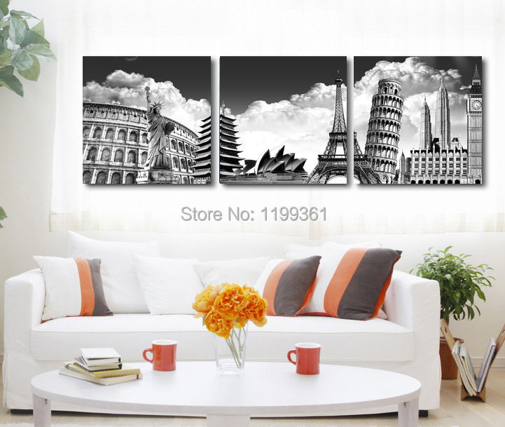 3 Panel Modern Home Decoration Wall Art Black White New York Paris Italy Australia Oil Painting Pictures Frameless Canvas Prints - Idea Furnishing store