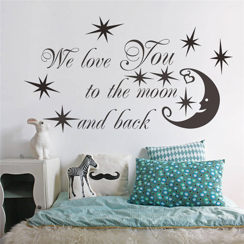 we love you to the moon and back letters wall decals for living room